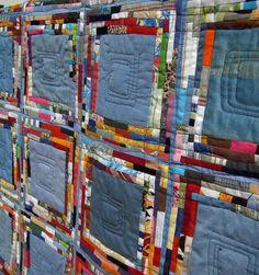 tiny scraps detail Denim Jean quilt, tiny scraps, by Edeltraud Ewert Patchwork Quilting, Scrappy Quilts, Baby Quilts, Denim Quilts, Patchwork Jeans, Quilting Projects, Quilting Designs, Quilt Inspiration, Blue Jean Quilts