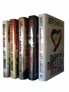 the first 5 Dexter books, by Jeff Lindsay:  Darkly Dreaming Dexter, Dearly Devoted Dexter, Dexter in the Dark, Dexter by Design, Dexter is Delicious.  This series is well worth reading; imo, the books are *much* better than the TV show based on them.