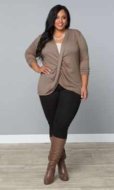 Twisted Pullover Bellini - Vintage Taupe at Curvalicious Clothes www.curvaliciousclothes.com