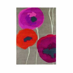 Sanderson Poppies Rug 45700 Red Orange 140cm X 200cm San45700140