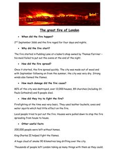 Tes The Great Fire Of London By Teaching Resources Tes London Activities, Teaching Activities, Teaching Resources, Great Fire Of London, The Great Fire, Home Learning, Learning Through Play, London Kids, London Art