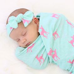 Adorable baby girl deer swaddle set with hat and headband - perfect for the hospital bag!