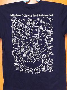 """友永たろさんのツイート: """"日大海洋生物資源科学科のTシャツ、今年もデザイン使ってもらいました♪今度はバックプリント・・・サンプル送っていただいた(・∀・)うれしい!… """""""