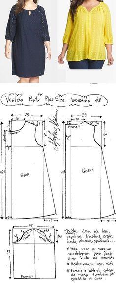 Vestido tipo bata plus size. Uma modelagem simples que pode ser usada para fazer um vestido ou bata. Esquema de modelagem do 46 ao 62. Publicado em 09/03/2016 por marleneglaumar2002 em modelagem
