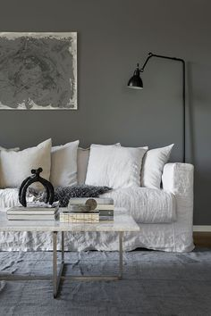 These are the ideas for living room paint colors, find your own personality color for the living room. The living room is not just personal space. Room Paint Colors, Paint Colors For Living Room, Living Room Decor, Living Rooms, Grey Interior Paint, Interior Design, Purple Interior, Interior Painting, Linen Couch