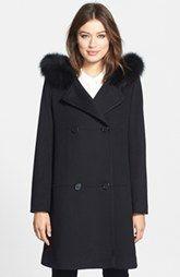 Fleurette Genuine Fox Fur Trim Hooded Wool Duffle Coat