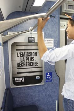 """""""LES FUGITIFS"""", A UNIQUE OUT-OF-HOME CAMPAIGN IN MONTREAL'S COMMUTER TRAINS. #OOH #Advertising #Trains #AMT #Montreal #Fugitifs"""