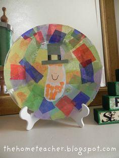 The Home Teacher: Dollar Store St. Patrick's Day Handprint Plate