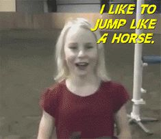 crazy girl and jumping like a horse image