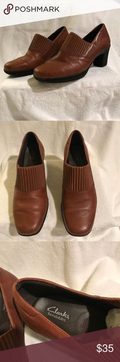 Clark's bendable Shoes Carmel color Extremely comfortable brand of Clark shoes 2 inch heel Clarks Shoes Heels