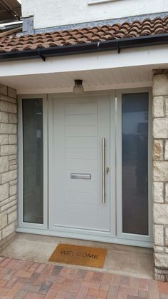 Modern Grey Front Door With Side Panel.Composite Door Gallery In Hampshire UK - BuildmyDoor. Model 020 Modern Grey Finish Wood Exterior Door W Side . Composite Front Doors In Fareham Front Doors U K . Home and Family Front Door Porch, Grey Front Doors, Porch Doors, Modern Front Door, Front Door Entrance, House Front Door, Front Door Design, House Doors, House With Porch