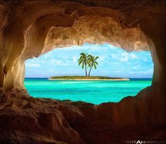 Old Indian cave on Turks and Caicos Island. Beautiful view!