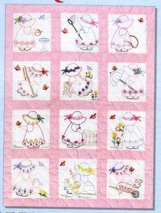 Sunbonnet Sue embroidered quilt