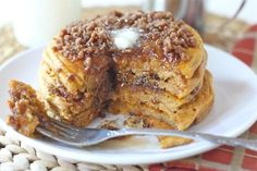 Pumpkin Cinnamon Streusel Pancake Recipe on twopeasandtheirpod.com A MUST make for fall!
