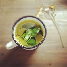 mint tea it's a brain and digestion stimulator, known to enhance brain functioN!  :)