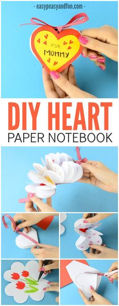 Heart Notebook - Mother's Day Card or Valentines Day Kid Made Gift Idea DIY Heart Notebook! An amazing gift for kids to make their mom this Mother's Day! An amazing gift for kids to make their mom this Mother's Day! Diy Mother's Day Crafts, Bunny Crafts, Mother's Day Diy, Easy Crafts, Homemade Crafts, Mothers Day Crafts For Kids, Crafts For Kids To Make, Mothers Day Cards, Gifts For Kids