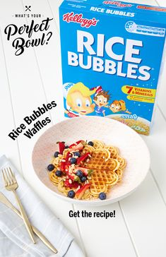 Looking for a delicious waffles recipe that snaps, crackles and pops? Try Lunch Box Dad& delicious twist on the traditional fun family breakfast with Kellogg& Rice Bubbles Waffles! Cereal Recipes, Waffle Recipes, Lunch Recipes, Sweet Recipes, Cooking Recipes, Dinner Recipes, Breakfast Bake, Breakfast Recipes, Bubble Waffle