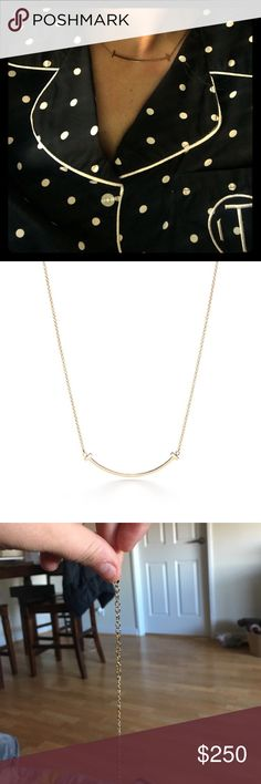 T smile gold necklace I had to get a new chain so there is no Tiffany chain Tiffany & Co. Jewelry Necklaces