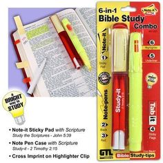 This 6-in-1 Bible Study Combo includes: Note-It self-adhesive notes 2 pens (red and black) Tab-It self-adhesive tabs Underliner Bible marking guide Highlighter Manufacturer: G. T. Luscombe Co. UPC: 63