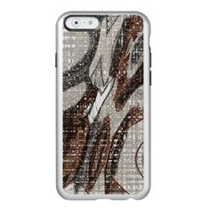 Grey and Brown Abstract Art / Incipio Feather Shine iPhone 6 Case SILVER! #fomadesign. You want it cheaper? Check out this link for special coupon offers! https://www.zazzle.com/coupons?rf=238298069376789985&tc=pin