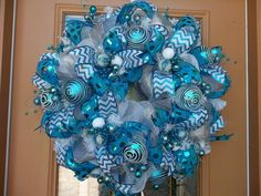 Deco Mesh Teal and White Festive Holiday Wreath