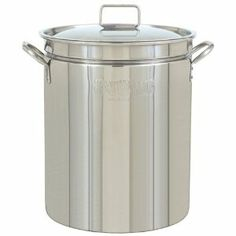 """102-Qt. Stockpot, Lid by Bayou Classic. $245.00. Stainless Steel Construction. 18.25""""d x 21.25""""h. 1.0mm/18 Gauge. The 102-Qt. Stockpot from Bayou Classic is the perfect accessory for your cooking needs. It is made of stainless steel, and comes complete with a 1.0mm/18 Gauge. Dimensions: 18.25""""d x 21.25""""h. Save 23%!"""