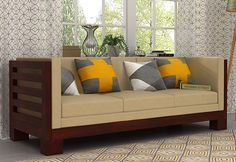 Shop Hizen 3 Seater Wooden Sofa online in Mahogany Finish to get the alluring inetrior. The contemporary style of 3 seater sofa make enticing presence and offers comfortable seating. Buy three seater sofa online in Wood Sofa, Couch Furniture, Home Decor Furniture, Home Decor Bedroom, Furniture Design, Wooden Sofa Set Designs, Ethnic Home Decor, Outdoor Furniture Plans, Living Room Sofa Design
