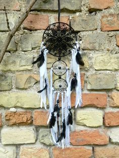 Black and white crochet dream catcher Lace by DreamSellerBoutique