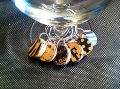 Cork Wine Charms Black and Brown Zebra Polka by TrishasDandelion, $7.00