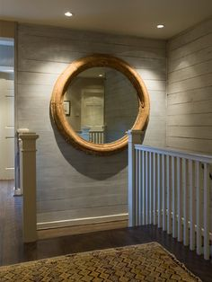 large round wood framed mirror♥