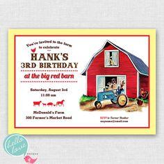 Farm Party printable birthday invitation