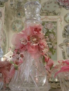 Large Pink Vintage Millinery Bottle