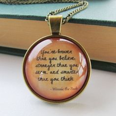 Winnie the Pooh Glass necklace Glass Necklace, Dog Tag Necklace, Pendant Necklace, Cute Winnie The Pooh, Disney Jewelry, Silver Necklaces, Pooh Bear, Jewellery, Book Lovers