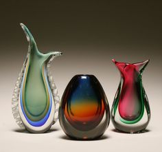 Three Murano sommerso art glass vases
