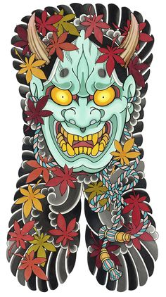 tattoos in japanese prints Traditional Japanese Tattoo Flash, Japanese Back Tattoo, Japanese Dragon Tattoos, Japanese Tattoo Designs, Japanese Sleeve Tattoos, Traditional Tattoo, Hannya Maske Tattoo, Hannya Tattoo, Mask Tattoo
