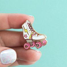 Roller Skate Enamel Pin, Flair – Lapel, Hard Enamel – Roller Derby Girl – Gold, White, Pink - wildflower + co. on etsy