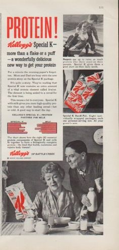 """Description: 1959 KELLOGG'S vintage print advertisement """"Protein!"""" -- Kellogg's Special K -- more than a flake or a puff -- a wonderfully delicious new way to get your protein. Kellogg's of Battle Creek. -- Size: The dimensions of the half-page advertisement are approximately 5.5 inches x 11.5 inches (14 cm x 29 cm). Condition: This original vintage advertisement is in Very Good Condition unless otherwise noted."""