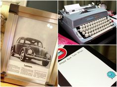 Use typewriters, vintage ads, candy cigarettes or Sterling Cooper themed office stationary.