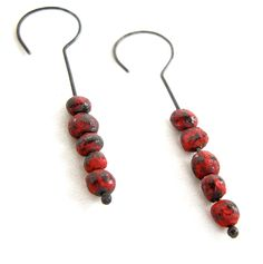 Red Seed Earrings by HiNGE Dept. Accessory
