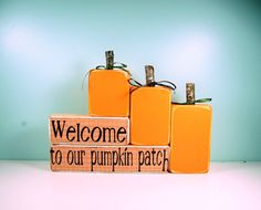 Welcome to Our Pumpkin Patch - Pumpkin Wood Block Set - Wood Block Decor Set on Etsy, $26.50