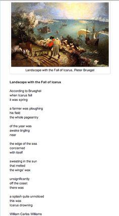 Icarus by Bruegel, Poem by William Carlos Williams