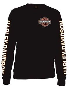 a020ca0d3178b Harley-Davidson Men s Long Sleeve Orange Bar  amp  Shield Black Shirt  30291744  HarleyDavidson