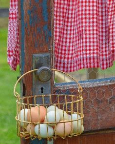 Opening my seasonal farm stand this weekend so there is lots and lots to do! First job is… Red Farmhouse, Shabby Chic Farmhouse, Art Pass, Egg Basket, Baskets, Romantic Shabby Chic, Country Living, Country Life, Country Roads