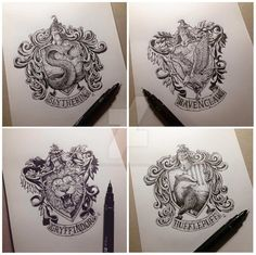 Had fun doing this series of HP house crests during breaks from commissioned projects. All of them are cool but Slytherin is my personal favorite. ------------------------------------- TUMBLR...