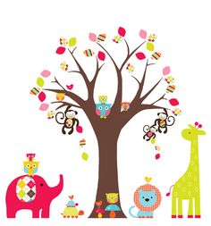 Bright Baby Nursery Pattern Tree and Jungle by WhimsyWallArt, $139.00