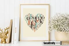 Typographic Heart Digital Print 8x10 Instant by socalcrafty