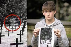 Schoolboy's snap captures ghost of Scots soldier standing over rows of German graves Scary Ghost Pictures, Creepy Ghost, Ghost Photos, Weird Pictures, Scary Photos, Paranormal Pictures, Paranormal Stories, Images Terrifiantes, Real Haunted Houses