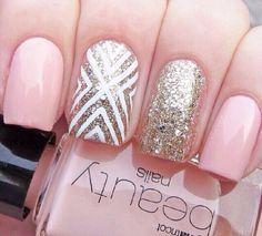 Peach Gold White Sparkle Nails