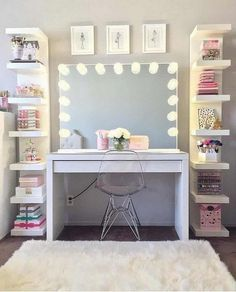Tween girl bedroom Interior design inspiration and ideas Are you looking for home decor inspiration Bedroom Storage Ideas For Clothes, Bedroom Storage For Small Rooms, Bedroom Decor For Teen Girls, Teen Room Decor, Tween Girls, Closet Ideas, Bedroom Organization, Makeup Organization, Teen Room Storage