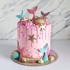 15 Pasteles tan kawaii que no querrás comerlos, Little Mermaid Cakes, Mermaid Birthday Cakes, Cute Birthday Cakes, Beautiful Birthday Cakes, Birthday Parties, Girl Birthday, Birthday Cakes Girls Kids, Birthday Ideas, Birthday Star